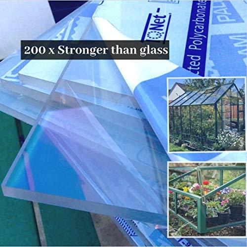 Clear Polycarbonate High Impact Palram Plastic Fabrication Sheet Panel Greenhouse Shed Glazing UV 610x457x4mm (610x457x4mm)