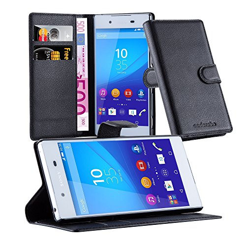 Cadorabo Coque pour Sony Xperia Z3 Plus en Noir DE Jais - Housse Protection avec Fermoire Magnétique, Stand Horizontal et Fente Carte - Portefeuille Etui Poche Folio Case Cover