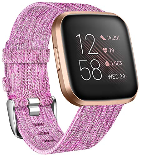 NANW Compatible with Fitbit Versa Bands, Versa Lite Edition Bands Small Large, Woven Fabric Accessories Strap Wristband Replacement Women Men