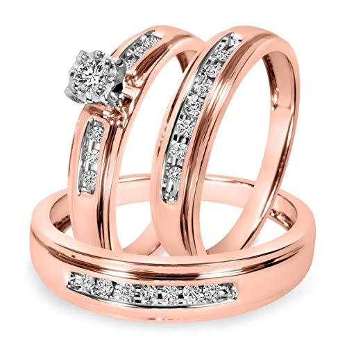 Ani's Juego de anillos de boda para hombre y mujer de 1/4 CT. T.W. Anillo de boda chapado en oro rosa de 14 quilates, plata 925