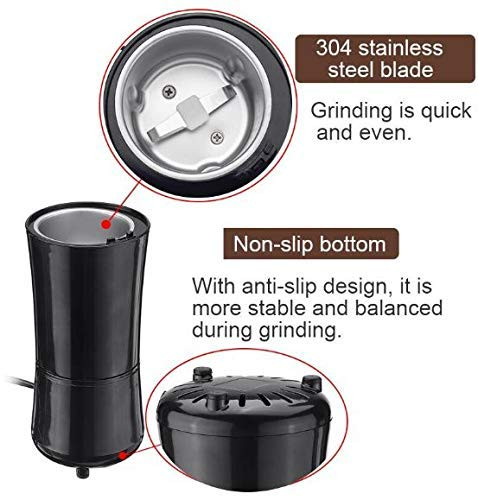 LAVNIK 200W Electric Coffee Mill Grinder with Stainless Steel Blades, Grinder Coffee Beans, Spices, Nuts Seeds Pepper Sugar Salt, Coffee Grinding Machine, Coffee Mill Grinder - Multicolor, 11L x 11W x 23H cm