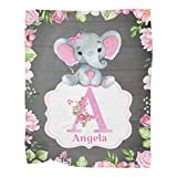 Custom Elephant Baby Flower Baby Blankets with Name Super Soft Fleece for Newborn,Boys,Girls Kids, Personalized Nursery Baby Blanket for Bed Sofa Birthday Baby Shower Wedding Gift 30x40 Inches