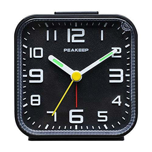 Peakeep 3D Numbers No Tick-Tock Analog Alarm Clock