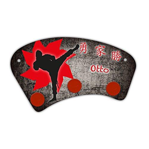 Wand-Garderobe mit Namen Otto und schönem Ninja-Motiv für Jungen - Garderobe für Kinder - Wandgarderobe