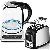 TronicXL 2 Schlitz Toaster + 1,7 L Wasserkocher mit Temperaturwahl 40 bis 100 ° C + Edelstahl + Glas + Digital Display Temperaturanzeige + Basis + Warmhaltefunktion + LED Beleuchtung Design Liter Set