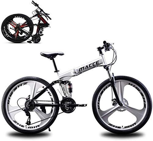WLGQ Bicicleta de montaña Plegable, Bicicleta de Carretera, Bicicleta Ultraligera de 21 velocidades con Marco y Horquilla de Acero con Alto Contenido de Carbono, Freno de Disco, para Hombre, muje