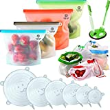 GOOD FOR YOU [17 Set] Food Storage Pack - Set of 4 Silicone Bags, 6 Stretchy Lids, 6 Produce Mesh Bags - Eco-Conscious Alternative to Plastic - Safe, Reusable Kitchen Solutions - with Bag Holder