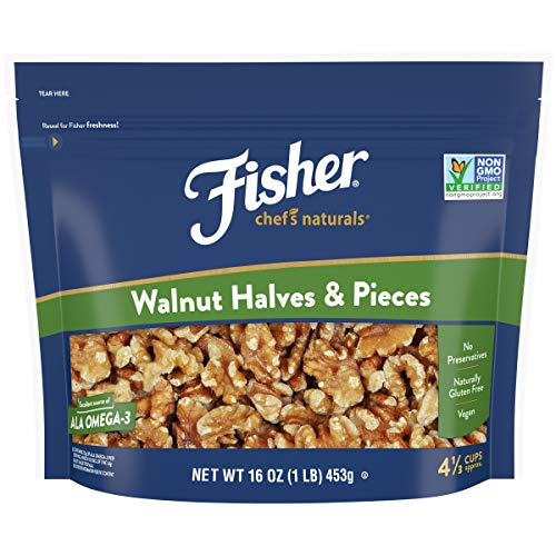 Fisher Chef's Naturals Walnut Halves & Pieces, 16 oz, Naturally Gluten Free, No Preservatives, Non-GMO