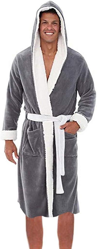 WUAI-Men Premium Pajamas Warm Fleece Hooded Robe Plush Bathrobe Plus Size
