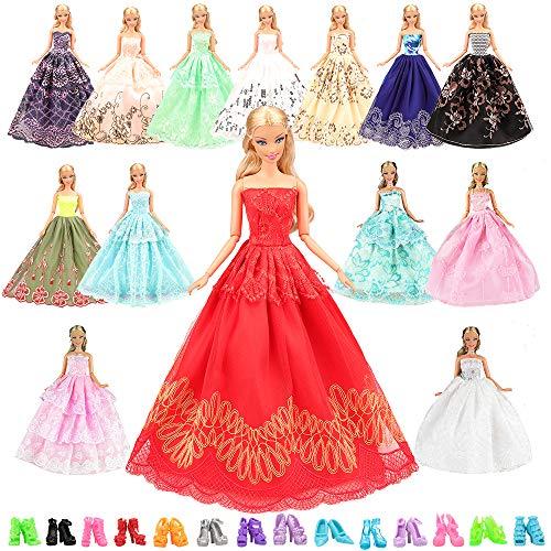 バービー用ドレス ランダム5枚バービー人形用服 ドレス 人形用靴10ペア ジェニー用服 ドレス 手作り バービー用ドレス アクセサリー 1/6ドール用 プリンセスドレス 子供プレゼント