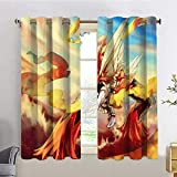 WomHouse Indoor Home Curtain Panels Mega Blaziken,W72 INCH x L63 INCH UV Ray Protected