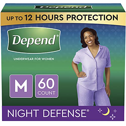 Depend Night Defense Incontinence Underwear for Women, Disposable, Overnight, Medium, Blush, 60 Count (4 Packs of 15) (Packaging May Vary)