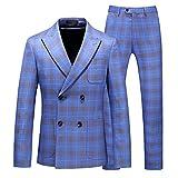 MOGU Mens Slim Fit Double Breasted Plaid Suit Light Blue 3 Piece Dress Tuxedo for Prom US Size 38 (Label Size XX/54) Light Blue