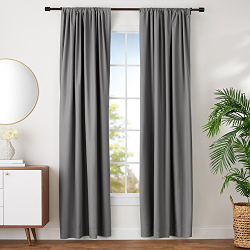 Amazon Basics Room Darkening Blackout Window Curtains with Tie Backs...