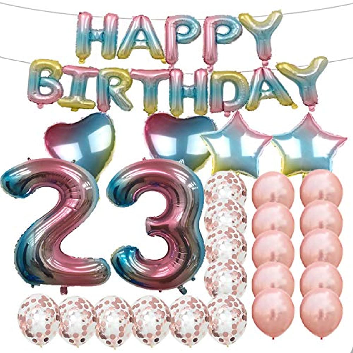 Sweet 23th Birthday Decorations Party Supplies,Rainbow Number 23 Balloons,23th Foil Mylar Balloons Rose Gold Latex Balloon Decoration,Great 23th Birthday Gifts for Girls,Women,Men,Photo Props