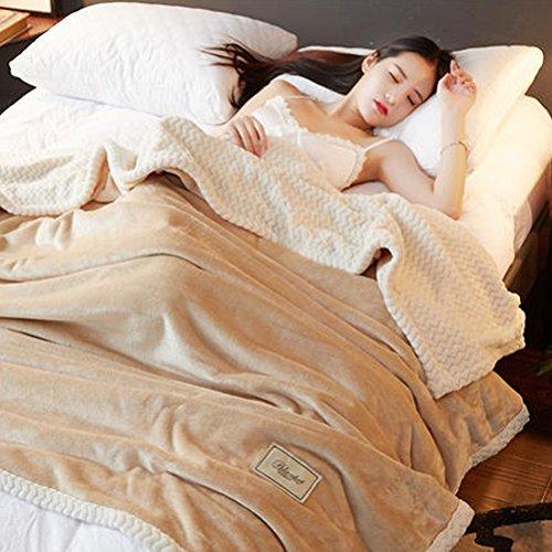 ZI LING SHOP- Double couverture de flanelle épaisse unique solide couleur couverture hiver Coral mariage double couverture blanket (Couleur : Marron, taille : 200x230cm)