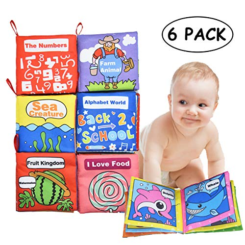Baby Soft Cloth Books Set Early Learning Educational Toy Non-Toxic Crinkle Books for Toddler and Infants Best Gifts for Baby Shower (Pack of 6)