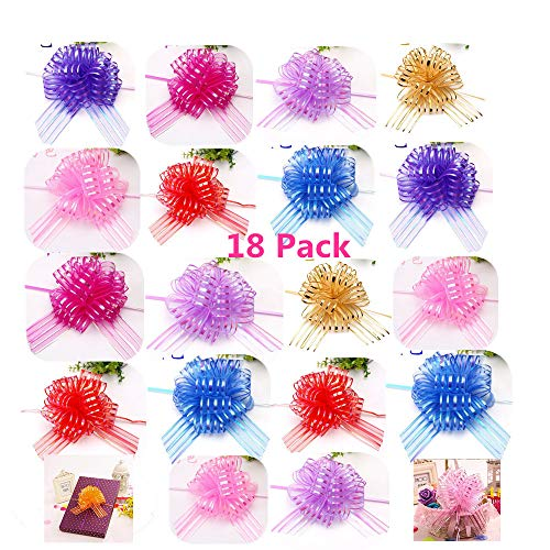 """Elegant Gift Pull Bows for Birthdays Easter Christmas, 18 Pack 6"""" diameter Organza Yarn Pull Bows Gift Wrapping Wrap Ribbon Bow Wedding Car Decoration Centerpieces Gift (18 Pack mix color)"""