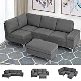 Esright Left Facing Sectional Sofa with Ottoman, Convertible Sectional Sofa with...
