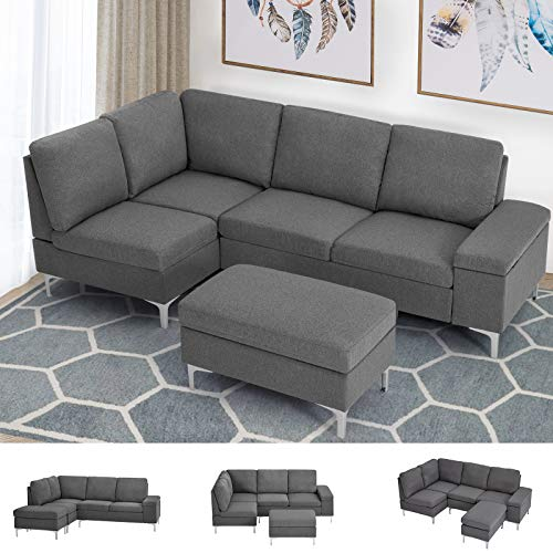 Esright Left Facing Sectional Sofa with Ottoman, Convertible Sectional Sofa with Armrest Storage, Sectional Sofa Corner Couches for Living Room & Apartment, Left Chaise & Gray Fabric