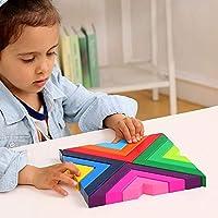 Lewo di Legno Arcobaleno Gioco impilabile Geometria Costruzioni Creativo annidamento Giocattoli educativi Bambini Piccoli #6
