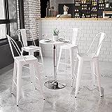 Flash Furniture 23.75'' Round Adjustable Height White Wood Table (Adjustable Range 26.25'' - 35.75'')