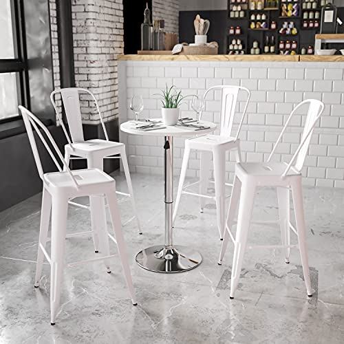 Flash Furniture 23.75'' Round Adjustable Height White Wood Table (Adjustable Range 26.25'' -...