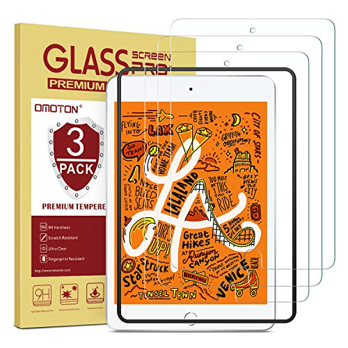 OMOTON [3 Pack] Screen Protector for iPad Mini 5 (2019) iPad Mini 4 - Tempered Glass, Apple Pencil Compatible, Scratch Resistant