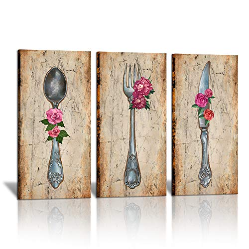3 Piece Kitchen Canvas Wall Decor Vintage Kitchen Utensil Pictures Fork Knife and Spoon with Red Flower Painting Artwork for Dining Room Restaurant Decoration Bar Wall Art 16'x32'x3PCS