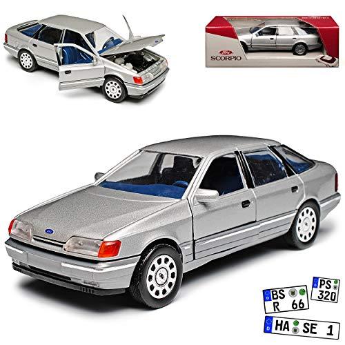 Schabak Ford Scorpio Limousine Silber 1. Generation 1985-1994 1/24 1/25 Modell Auto mit individiuellem Wunschkennzeichen