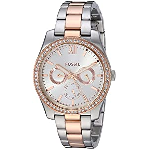 Fossil Scarlette Reloj de cuarzo de acero inoxidable con purpurina para