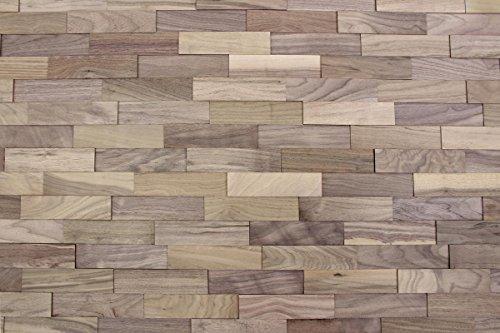 wodewa Paneles de Madera para Pared Nogal I 1m² Revestimiento de Paredes 3D Panel Decorativo Madera Interior Sala de Estar Cocina Dormitorio Mural I Natural