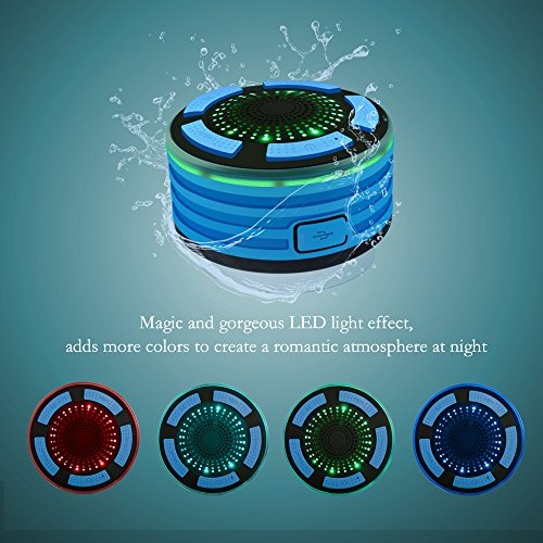 Bluetooth Shower Speaker, Alitoo Wireless Waterproof IPX7 Portable Speakers Radio with LED Mood Lights, Suction Cup, Built in Mic, Super Bass HD Sound, Hand-Free Call for Bathroom Pool Beach Car
