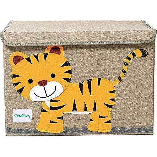 Baúl de juguetes para niños con tapa, caja de almacenamiento plegable, contenedor de almacenamiento plegable, 36 x 52 x 35 cm, 65 l (tigre)