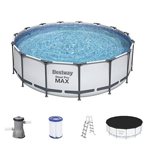 Bestway Steel Pro MAX Aufstellpool Komplett-Set mit Filterpumpe Ø 457 x 122 cm, grau, rund