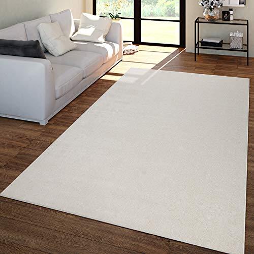 TT Home Wohnzimmer Teppich Unifarben Kurzflor Trendig Und Soft, Schlicht In Creme, Größe:60x100 cm