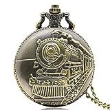 ZMKW Reloj de Bolsillo de Cuarzo de Serie de Motor de Locomotora Frontal de Tren de Bronce Retro, Relojes de Mujer para Hombre, Collar de Cadena Colgante, Regalo, 1
