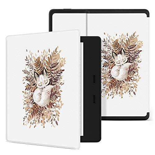 Ayotu 10th Generation Kindle Oasis Hülle (Modell 2019) & 9th Generation Hülle (Modell 2017), Honeycomb PU-Hülle mit automatischer Aktivierung/Deaktivierung,Schlafender Fuchs
