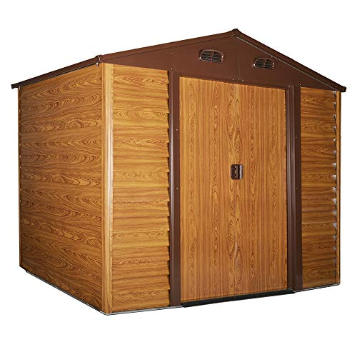 Outsunny 9 x 6ft Metal Garden Shed House Hut Gardening Tool Storage with Foundation and Ventilation Brown with wood grain