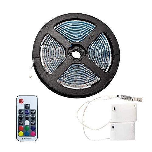 4m Ruban LED avec télécommande à 24 touches et boîtier de batterie, Bande d'éclairage multicolore étanche RGB 5050 pour décoration intérieure et extérieure de la maison de Noël