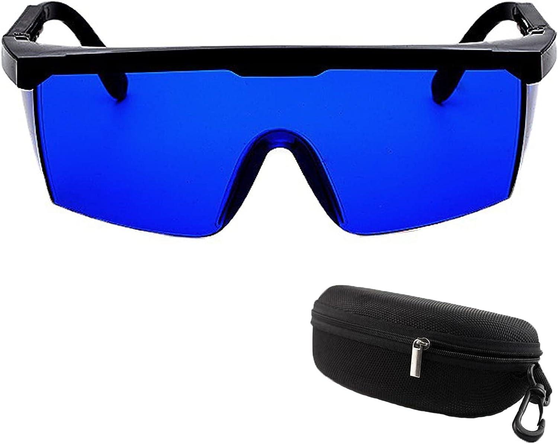Macllar Protección de gafas IPL, Gafas láser Grabador láser Gafas protectoras Gafas protectoras para los ojos Gafas de seguridad para trabajar con estuche para gafas, Azul