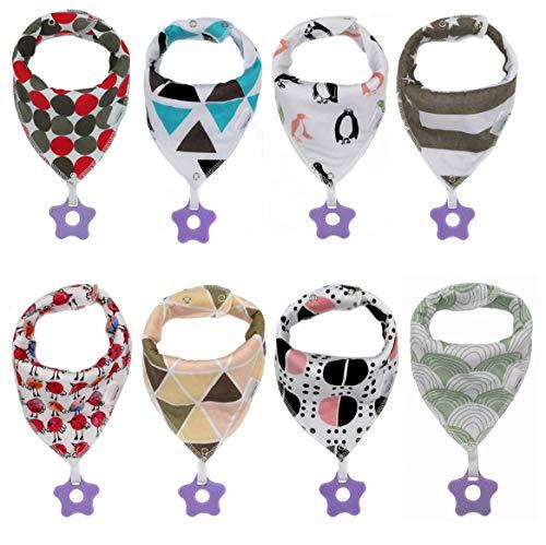 Foulard per bambini, confezione da 8 pezzi, bavaglini triangolari per bambini e bambine,bavette in cotone, bandana con anello da dentizione in silicone, bavaglino per bambini, bavaglini neonato