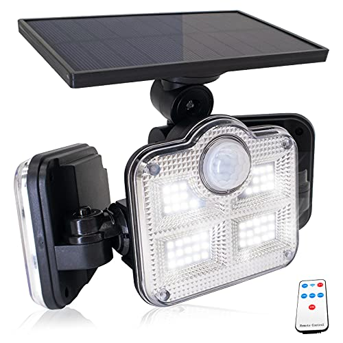 La Càmb Muse Luces LED Solares para Exteriores Luz con Sensor de Movimiento Lampara Aplique Pared Exterior Iluminacion Mando a Distancia 3 Cabezas 122 LEDs IP65 Impermeable Sol Luz de Inundación