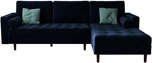 3 Seater Velvet Fabric Corner Sofa Lounge Suite Couch w/Chaise Solid Wood Frame - Navy Blue
