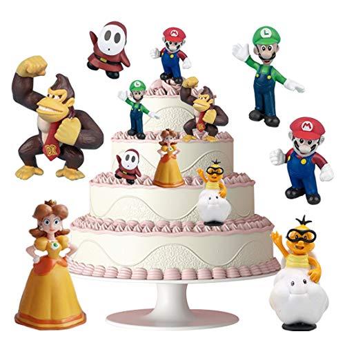 HANEL 6 Piezas Super Mario Cake Topper Super Mario Tarta Decoración Niños Mini Muñeca Hecha a Mano Shower Fiesta Cumpleaños Pastel Decoración Suministros