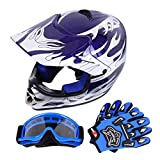 Samger DOT Youth Niños Fuera del Casco de Motocross Dirt Bike Casco con Guantes Gafas (Azul,L)