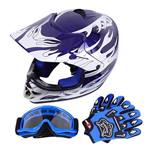 Samger DOT Jugend Kinder Offroad Helm Motocross Helm Dirt Bike ATV Motorrad Helm Handschuhe Brille(L,Blau)