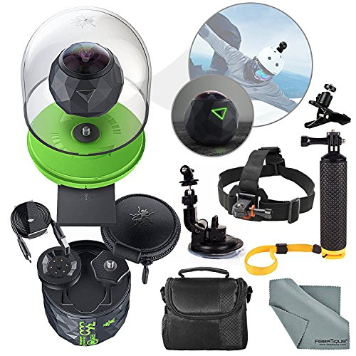 PhotoSavings 360Fly 4K Action Camera and Deluxe Accessory Bundle with Camera Mounts + Floating Hand Grip + Clip Clamp + Case + Fibertique Cleaning Cloth