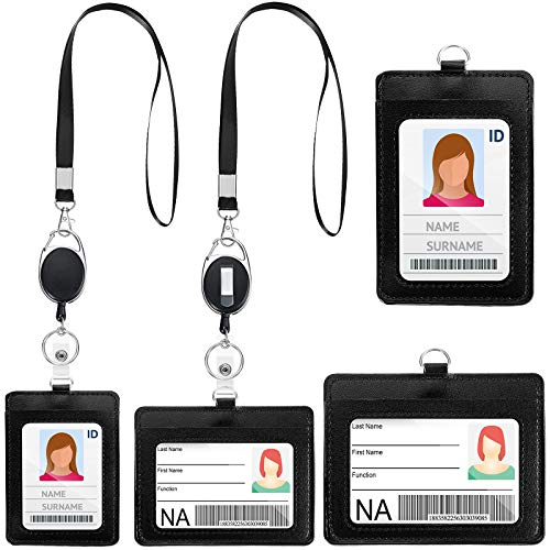 4 Set Retractable Leather Badge Holder, Vertical and Horizontal ID Card Holder Retractable Badge Reel with Slot Detachable Lanyard Name Badge Holder for Student Nurse Worker