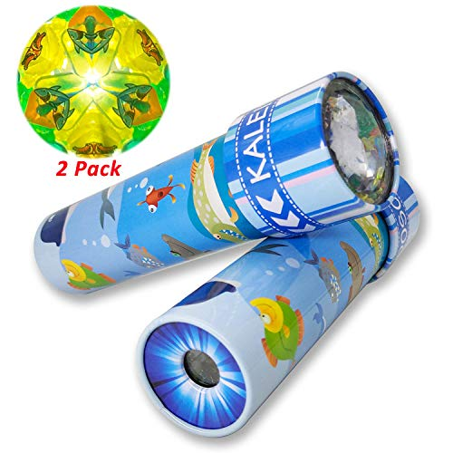 iKeelo Classic Tin Kaleidoscope, 2 Pack Kids Educational Kaleidoscope Toy with Metal Body, Birthday Gift for Boys and Girls (Under Water World -2 Units)
